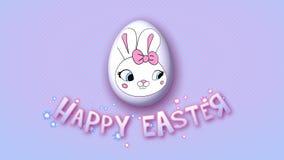 Gelukkige Pasen-aanhangwagen 30 van de animatietitel FPS-punten roze babyblue stock illustratie