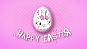 Gelukkige Pasen-aanhangwagen 25 van de animatietitel FPS-puntenroze vector illustratie