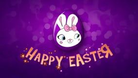 Gelukkige Pasen-aanhangwagen 25 van de animatietitel FPS-violette bellen/purple stock illustratie