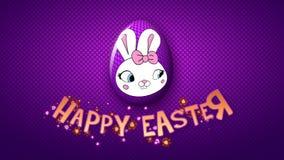 Gelukkige Pasen-aanhangwagen 50 van de animatietitel FPS-violette punten/purple royalty-vrije illustratie