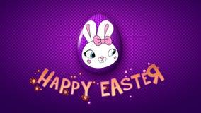 Gelukkige Pasen-aanhangwagen 25 van de animatietitel FPS-violette punten/purple stock illustratie