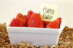 Gelukkige Pasen-Aardbeien Royalty-vrije Stock Afbeelding
