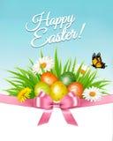 Gelukkige Pasen achtergrond Kleurrijk eieren en madeliefje vector illustratie