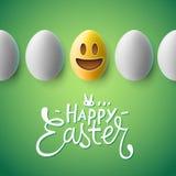 Gelukkige Pasen-affiche, paaseieren met emojigezicht Royalty-vrije Stock Afbeelding