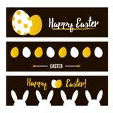 Gelukkige Pasen-bannerreeks, inzameling In zwarte en gouden kleuren Stock Afbeelding