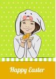 Gelukkige Pasen-beeldverhaalkaart met meisje en kuiken Royalty-vrije Stock Foto