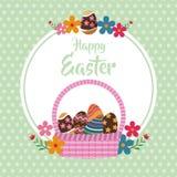 gelukkige Pasen-bloemen de puntenachtergrond van het mandei Royalty-vrije Stock Foto