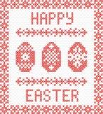 Gelukkige Pasen-borduurwerk dwars-steek Stock Afbeelding