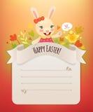 Gelukkige Pasen Bunny Girl Greeting Card. Royalty-vrije Stock Afbeeldingen