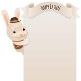 Gelukkige Pasen Bunny Looking bij Lege Affiche Royalty-vrije Stock Fotografie
