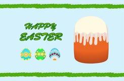 Gelukkige Pasen, Pasen-cake, geschilderde eieren Royalty-vrije Stock Afbeelding