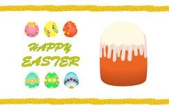 Gelukkige Pasen, Pasen-cake, geschilderde eieren Royalty-vrije Stock Afbeeldingen