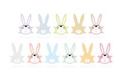 Gelukkige Pasen-de groetkaart van het konijntjesbeeldverhaal Stock Foto