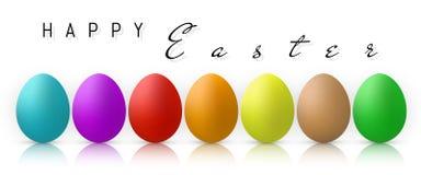 Gelukkige Pasen, de Inzameling van Kleureneieren met Gradiëntnetwerk, ontwerpmalplaatje, Vectorillustratie stock illustratie