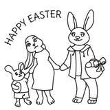 Gelukkige Pasen-de kaart vectorillustratie van de konijnfamilie royalty-vrije illustratie