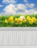 Gelukkige Pasen-de Lenteachtergrond als achtergrond Stock Foto