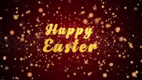 Gelukkige Pasen-de tekst glanzende deeltjes van de groetkaart voor viering, festival stock illustratie