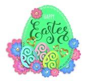 Gelukkige Pasen-document ontwerpei en bloemen stock afbeelding
