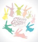 Gelukkige Pasen en grappige konijntjes royalty-vrije illustratie