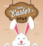 Gelukkige Pasen 2016 en het glimlachen konijntje royalty-vrije illustratie