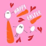 Gelukkige Pasen, en vliegende eieren met tekeningsharten Royalty-vrije Stock Foto's