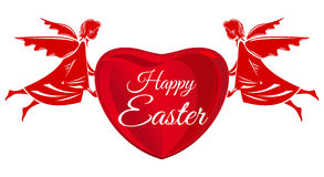 Gelukkige Pasen Engelen, groot rood hart met groetinschrijving De groetkaart van Pasen vector illustratie