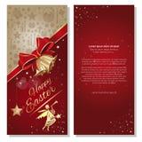 Gelukkige Pasen Feestelijke rode achtergrond met lint, boog, engelen en kenwijsjeklokken vector illustratie