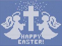 Gelukkige Pasen gebreide kaart, engelen en kruis stock illustratie