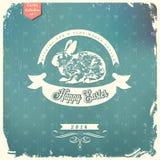 Gelukkige Pasen-groetkaart Stock Afbeeldingen