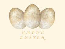 Gelukkige Pasen-Groetkaart Gouden ei over groene gradiëntachtergrond Pasen-dag Royalty-vrije Stock Fotografie
