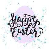 Gelukkige Pasen-Groetkaart Hand het Getrokken van letters voorzien met ei en wa Royalty-vrije Stock Afbeelding