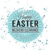 Gelukkige Pasen-Groetkaart Hand het Getrokken van letters voorzien met ei en wa Stock Foto's