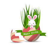 Gelukkige Pasen-Groetkaart met etiket Royalty-vrije Stock Afbeeldingen