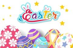 Gelukkige Pasen-groetkaart met konijn, konijntje en eieren Royalty-vrije Stock Afbeelding