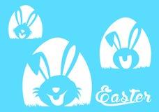 Gelukkige Pasen-groetkaart met konijn, konijntje en eieren Stock Foto's