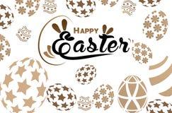 Gelukkige Pasen-groetkaart met konijn, konijntje en eieren Stock Afbeeldingen
