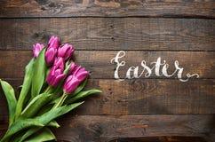 Gelukkige Pasen-hand het van letters voorzien kalligrafie Royalty-vrije Stock Afbeelding