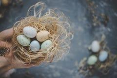 Gelukkige Pasen Handen die paaseieren in nest met Pasen-decoratie, hoogste mening houden Royalty-vrije Stock Foto's