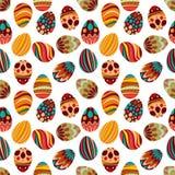 Gelukkige Pasen! Het gelukkige patroon van vakantieeieren, naadloze achtergrond voor uw ontwerp van de groetkaart Leuke verfraaid royalty-vrije illustratie
