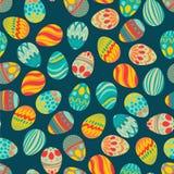 Gelukkige Pasen! Het gelukkige patroon van vakantieeieren, naadloze achtergrond voor uw ontwerp van de groetkaart Leuke verfraaid Royalty-vrije Stock Foto