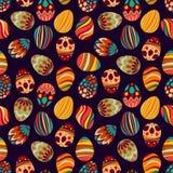 Gelukkige Pasen! Het gelukkige patroon van vakantieeieren, naadloze achtergrond voor uw ontwerp van de groetkaart Leuke verfraaid Royalty-vrije Stock Foto's