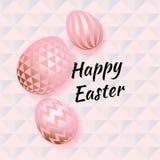 Gelukkige Pasen-inschrijving en paaseieren in een zachte pastelkleur Vector illustratie vector illustratie