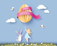 Gelukkige Pasen-kaart met banny, meisje en ei Royalty-vrije Stock Afbeelding