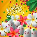 Gelukkige Pasen-kaart met eieren en bloemen, heldere gele achtergrond, bloemenverven, vector vector illustratie