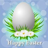 Gelukkige Pasen-Kaart met Eieren, Gras, Bloemen en Bokeh-Effect vector illustratie