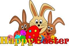 Gelukkige Pasen-kaart met funy Pasen-konijntjes Stock Afbeeldingen