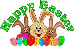 Gelukkige Pasen-kaart met funy Pasen-konijntjes Royalty-vrije Stock Foto's