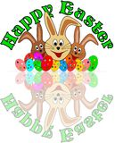 Gelukkige Pasen-kaart met funy Pasen-konijntjes Royalty-vrije Stock Afbeeldingen