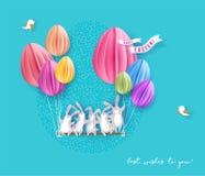 Gelukkige Pasen-kaart met konijntje, bloemen en ei Royalty-vrije Stock Afbeelding