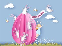 Gelukkige Pasen-kaart met konijntje, meisje en ei Royalty-vrije Stock Foto